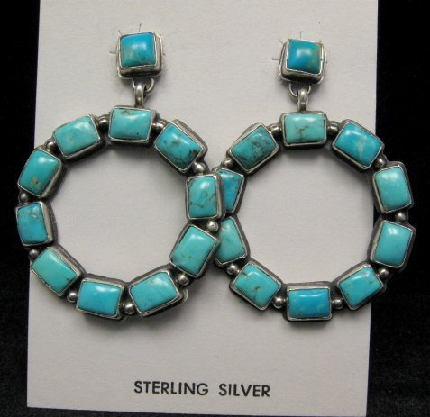 Image 1 of Annie Hoskie Navajo American Indian Turquoise Silver Earrings