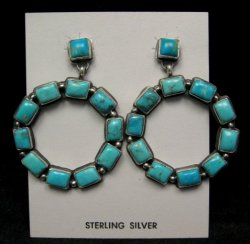 Annie Hoskie Navajo American Indian Turquoise Silver Earrings