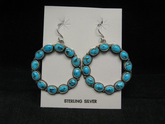 Image 0 of Annie Hoskie Navajo Turquoise Circular Dangle Earrings