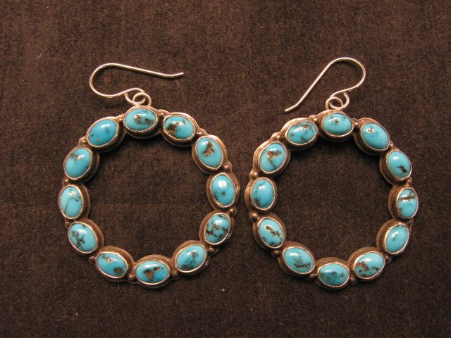 Image 1 of Annie Hoskie Navajo Turquoise Circular Dangle Earrings
