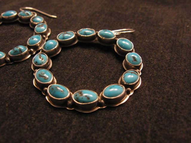 Image 2 of Annie Hoskie Navajo Turquoise Circular Dangle Earrings