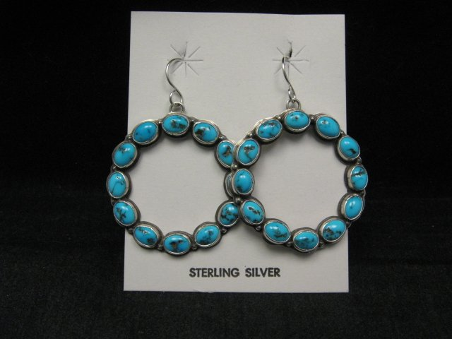 Image 3 of Annie Hoskie Navajo Turquoise Circular Dangle Earrings