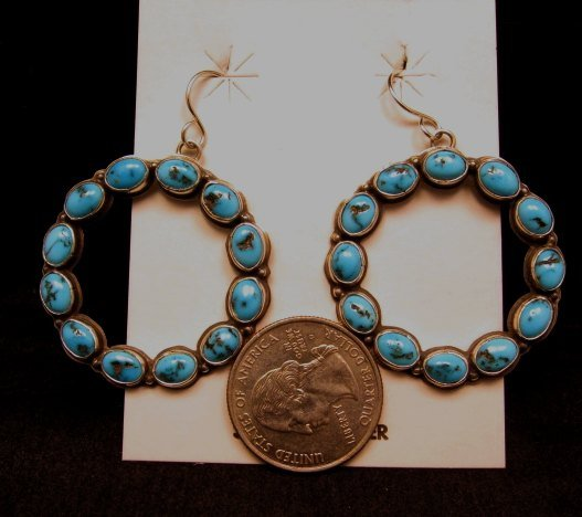 Image 4 of Annie Hoskie Navajo Turquoise Circular Dangle Earrings