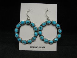 Annie Hoskie Navajo Turquoise Circular Dangle Earrings