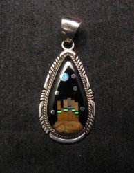 Native American Navajo Inlaid Monument Valley Night Sky Pendant, Matthew Jack
