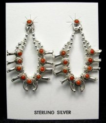 Mini Coral Sterling Silver Squash Blossom Earrings, Navajo, Larry Curley