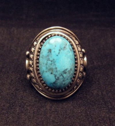 Image 0 of Native American Navajo Derrick Gordon Turquoise Mens Ring Sz10-1/2