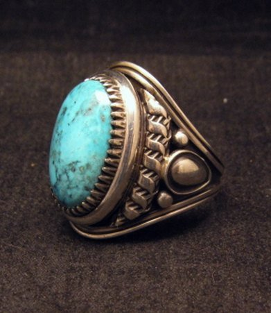 Image 1 of Native American Navajo Derrick Gordon Turquoise Mens Ring Sz10-1/2