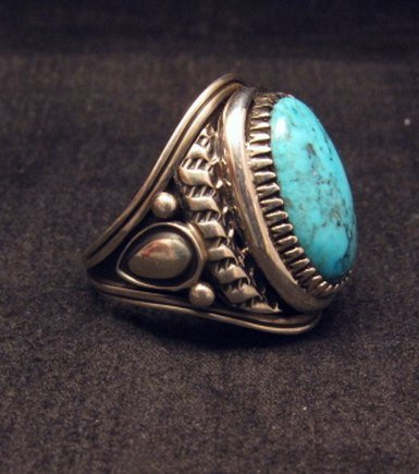 Image 2 of Native American Navajo Derrick Gordon Turquoise Mens Ring Sz10-1/2