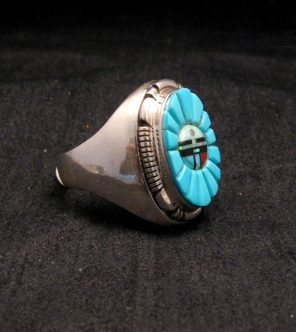 Image 1 of Navajo, Albert Tapaha, Turquoise Sun Face Inlay Ring Sz12