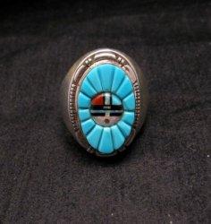 Navajo, Albert Tapaha, Turquoise Sun Face Inlay Ring Sz12