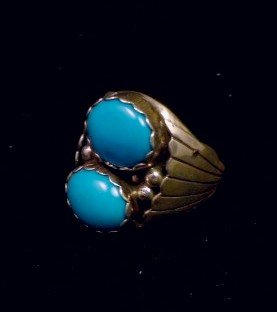 Image 2 of Navajo Native American Turquoise Sterling Silver Ring, sz10