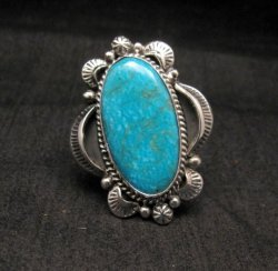 Navajo Native American Kingman Turquoise Ring Sz10-3/4, Gilbert Tom