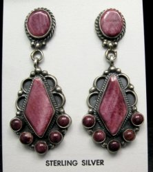 Lee Brown Navajo 2-Pc Purple Spiny Oyster Cluster Silver Earrings
