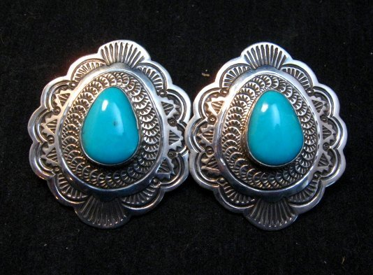 Image 2 of Arnold Blackgoat Navajo Turquoise Sterling Silver Earrings