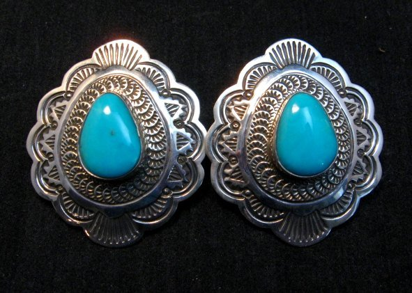 Image 0 of Arnold Blackgoat Navajo Turquoise Sterling Silver Earrings