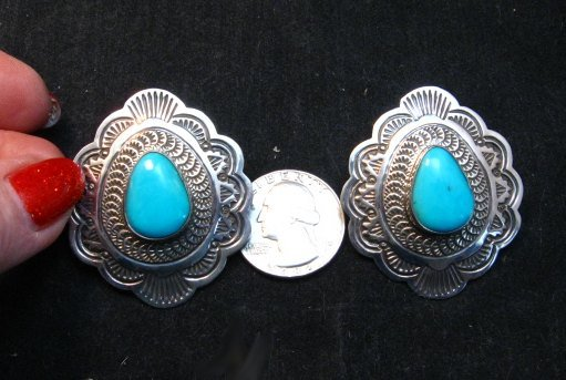 Image 1 of Arnold Blackgoat Navajo Turquoise Sterling Silver Earrings