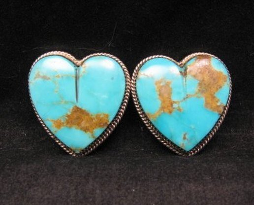 Image 0 of Native American Turquoise Silver Heart Earrings, Clip-on, Rosella Sandoval