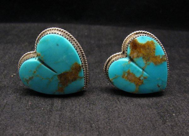 Image 1 of Native American Turquoise Silver Heart Earrings, Clip-on, Rosella Sandoval