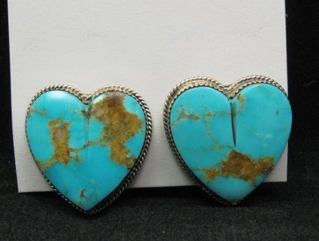 Image 3 of Native American Turquoise Silver Heart Earrings, Clip-on, Rosella Sandoval