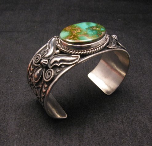 Image 2 of Andy Cadman Navajo Native American Royston Turquoise Silver Bracelet