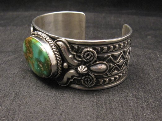 Image 4 of Andy Cadman Navajo Native American Royston Turquoise Silver Bracelet