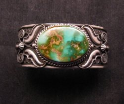 Andy Cadman Navajo Native American Royston Turquoise Silver Bracelet