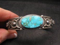 Larson Lee Navajo Native American Turquoise Sterling Silver Bracelet