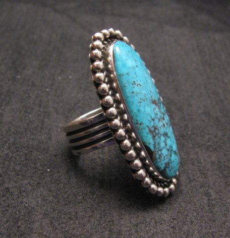 Image 1 of Navajo American Indian Turquoise Silver Ring, Navajo Happy Piasso sz 6-1/2
