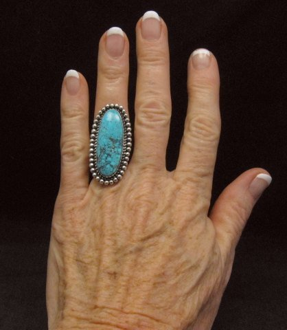Image 2 of Navajo American Indian Turquoise Silver Ring, Navajo Happy Piasso sz 6-1/2