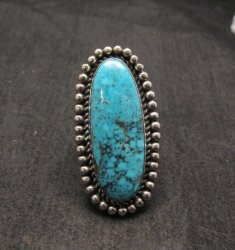 Navajo American Indian Turquoise Silver Ring, Navajo Happy Piasso sz 6-1/2