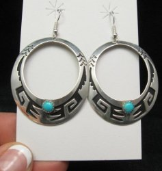 Big Navajo Turquoise Sterling Silver Earrings, Tommy & Rosita Singer
