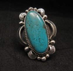 Navajo Native American Indian Turquoise Ring Sz10, Gilbert Tom