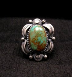 Navajo American Indian Turquoise Silver Ring Sz7-1/2, Gilbert Tom