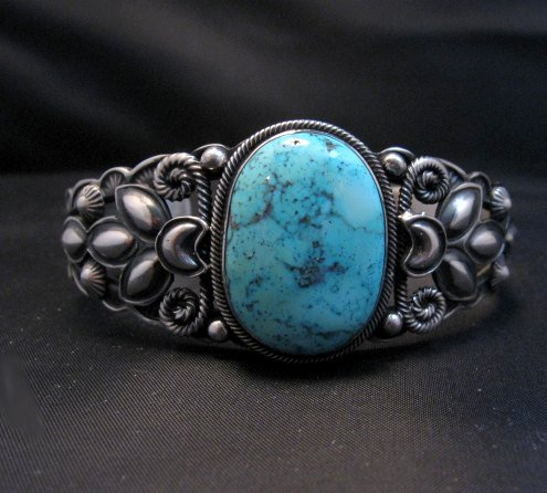 Image 0 of Navajo Native American Indian Turquoise Silver Bracelet, Derrick Gordon