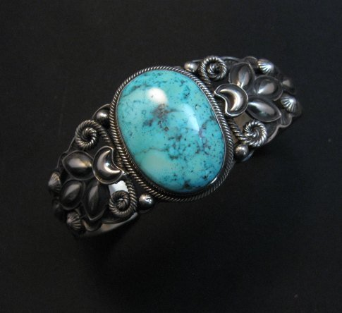Image 7 of Navajo Native American Indian Turquoise Silver Bracelet, Derrick Gordon