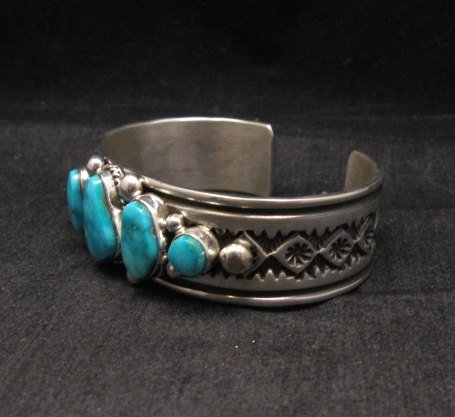 Image 3 of Albert Jake Navajo Native American Indian Turquoise Silver Cuff Bracelet