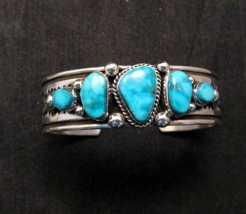Image 0 of Albert Jake Navajo Native American Indian Turquoise Silver Cuff Bracelet