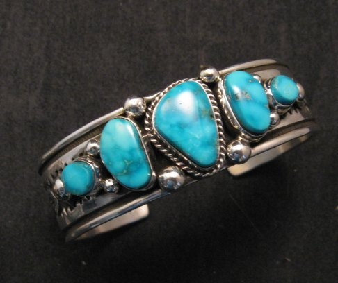 Image 1 of Albert Jake Navajo Native American Indian Turquoise Silver Cuff Bracelet