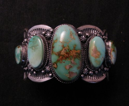 Image 2 of Large Navajo Native American Royston Turquoise Silver Cuff Bracelet, Gilbert Tom