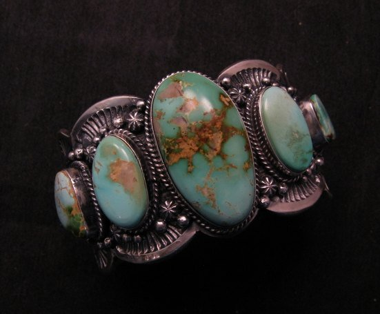 Image 0 of Large Navajo Native American Royston Turquoise Silver Cuff Bracelet, Gilbert Tom