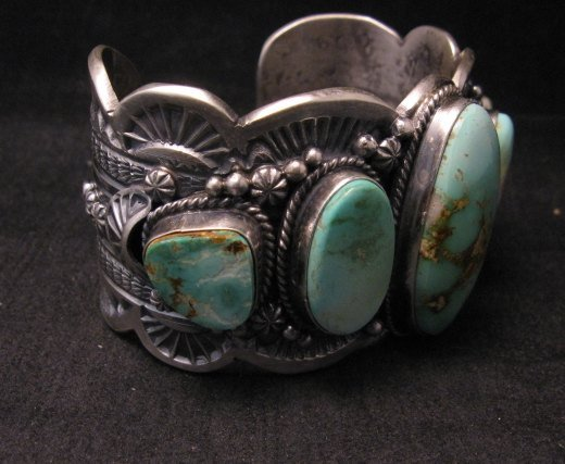 Image 4 of Large Navajo Native American Royston Turquoise Silver Cuff Bracelet, Gilbert Tom