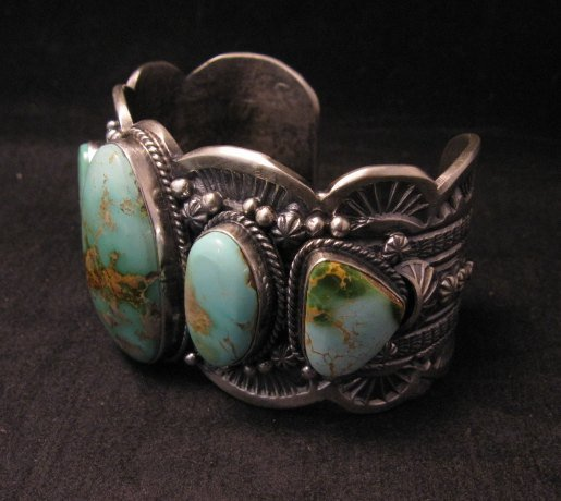 Image 5 of Large Navajo Native American Royston Turquoise Silver Cuff Bracelet, Gilbert Tom