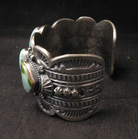 Image 6 of Large Navajo Native American Royston Turquoise Silver Cuff Bracelet, Gilbert Tom