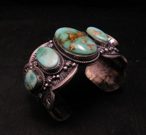 Image 3 of Large Navajo Native American Royston Turquoise Silver Cuff Bracelet, Gilbert Tom
