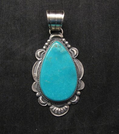 Image 0 of Big Native American Navajo Kingman Turquoise Silver Pendant, Gilbert Tom