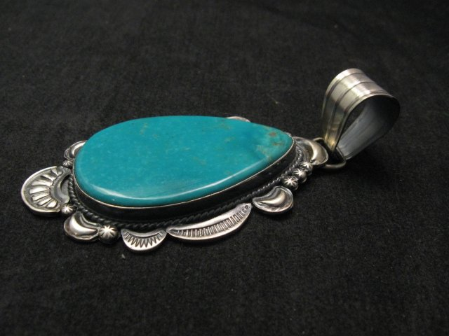 Image 1 of Big Native American Navajo Kingman Turquoise Silver Pendant, Gilbert Tom