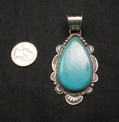 Image 2 of Big Native American Navajo Kingman Turquoise Silver Pendant, Gilbert Tom