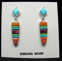 Navajo Native American Multi-stone Inlay Earrings, Julius Burbank