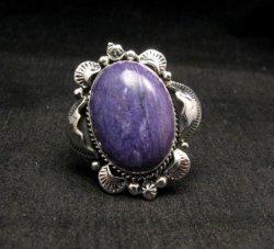 Native American Navajo Charoite Sterling Ring Sz9-1/2, Gilbert Tom